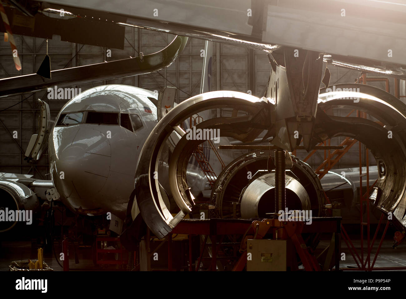 Civil jet airplanes pictured inside the hangar while undergoing various checks at the S7 Engineering facility at Domodedovo airport, Moscow Region, Ru - Stock Image