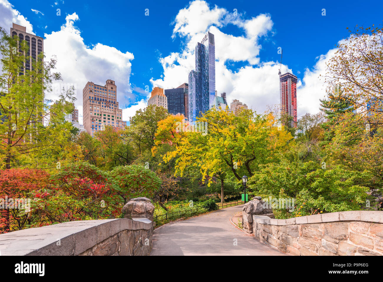 New York, New York, USA Park South cityscape from Central Park in Autumn. - Stock Image