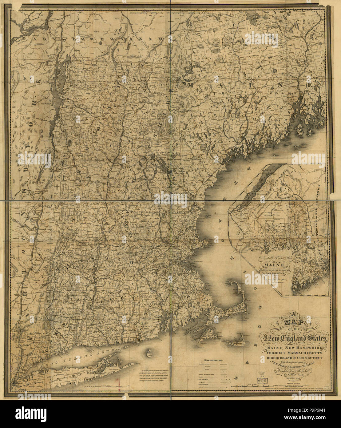 A map of the New England states, Maine, New Hampshire, Vermont ...