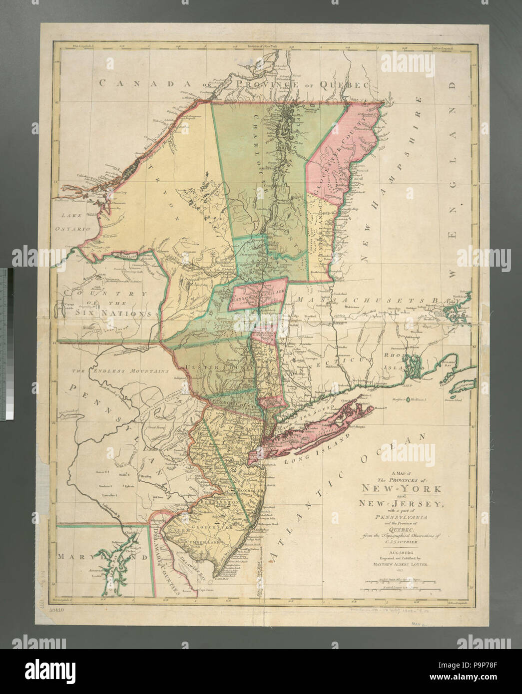 Map Of New York And Quebec.A Map Of The Provinces Of New York And New Jersey With A Part Of