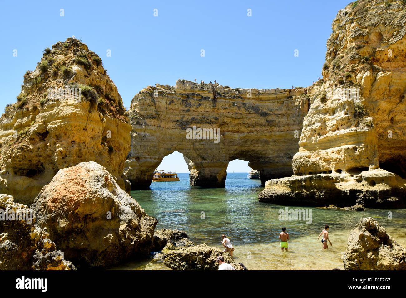 Marinha beach in Porches, Algarve, Portugal - Stock Image
