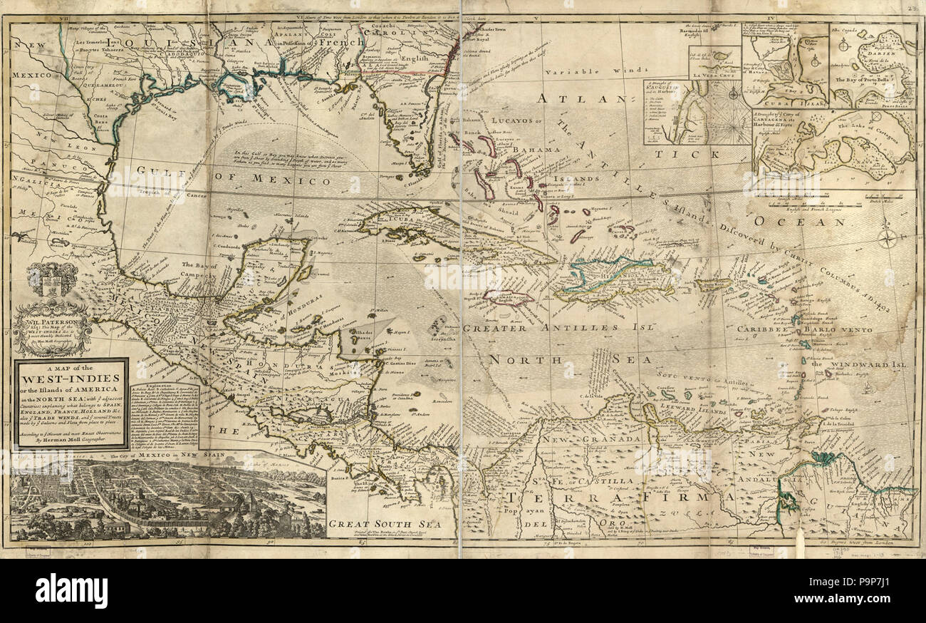 Map Of England France And Spain.A Map Of The West Indies Or The Islands Of America In The North Sea
