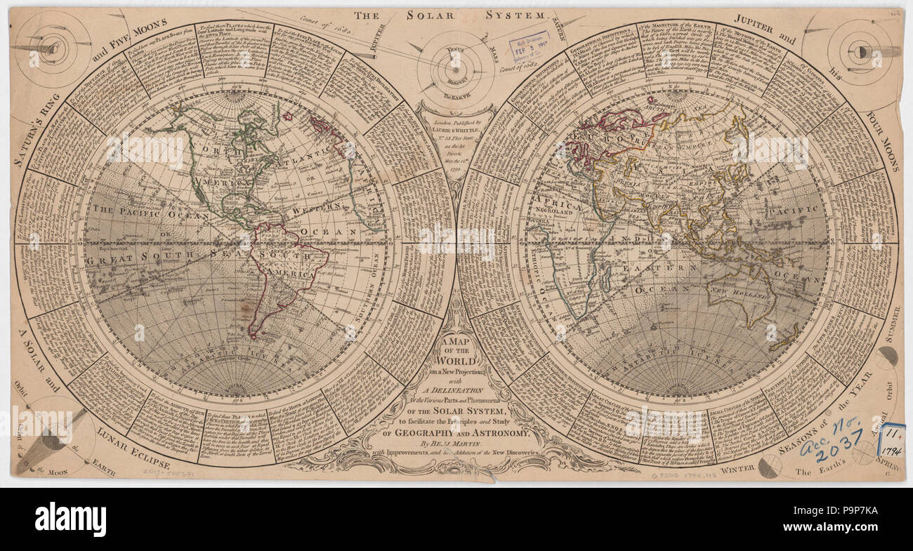 A map of the world on a new projection with a delineation of the various parts and phenomena of the solar system to facilitate the principles and study of geography and astronomy - Stock Image