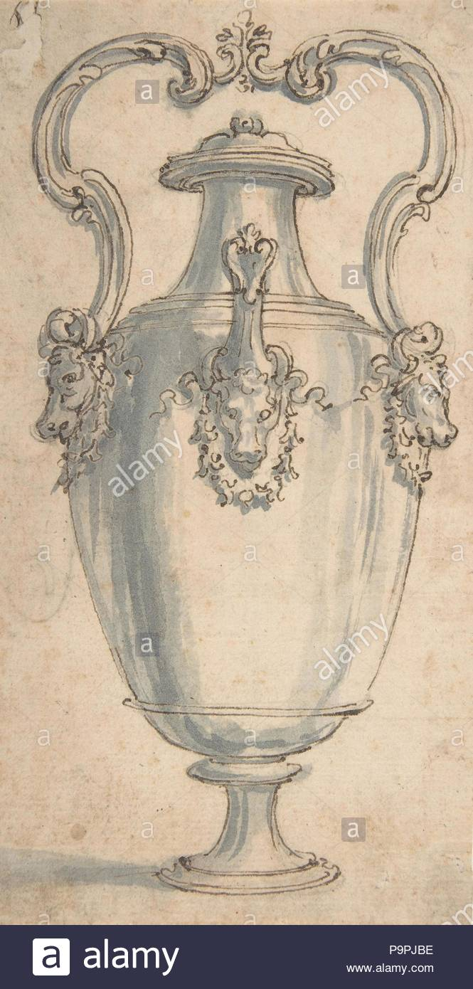 Design for a Ewer with Bull's Heads under the Handels and Spout, 1652–1725, Pen and brown ink, brush and gray wash, over traces of black chalk; glued onto secondary paper support, sheet: 7 3/8 x 4 in. (18.7 x 10.1 cm), Giovanni Battista Foggini (Italian, Florence 1652–1725 Florence). - Stock Image