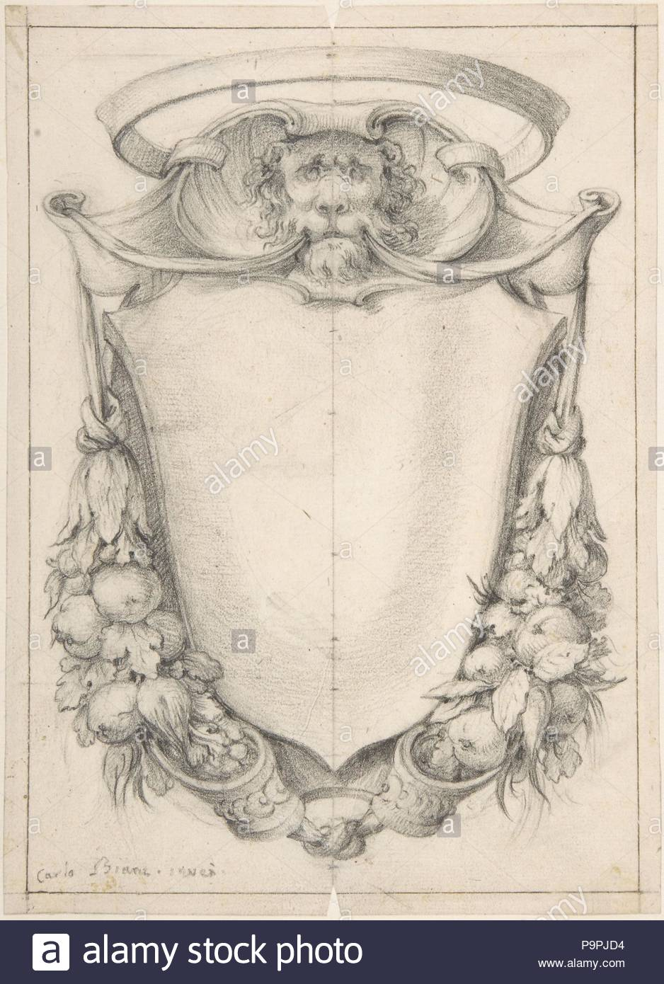Design for a Cartouche with a Lion\'s Head and Nimbus, 1732–1802, Pen ...
