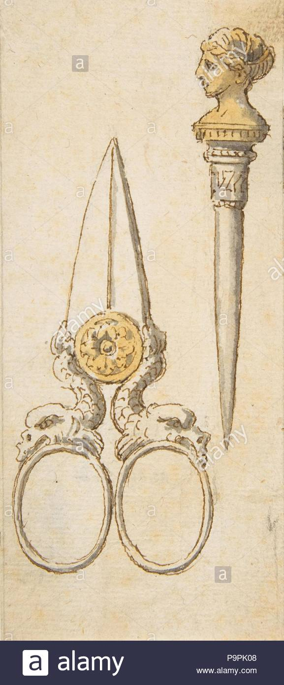 Designs for Scissors and Letter Opener, 19th century, Pen and brown ink with gray and yellow wash, sheet: 6 1/4 x 2 3/4 in. (15.8 x 7 cm), Drawings, Anonymous, French, 19th century. - Stock Image