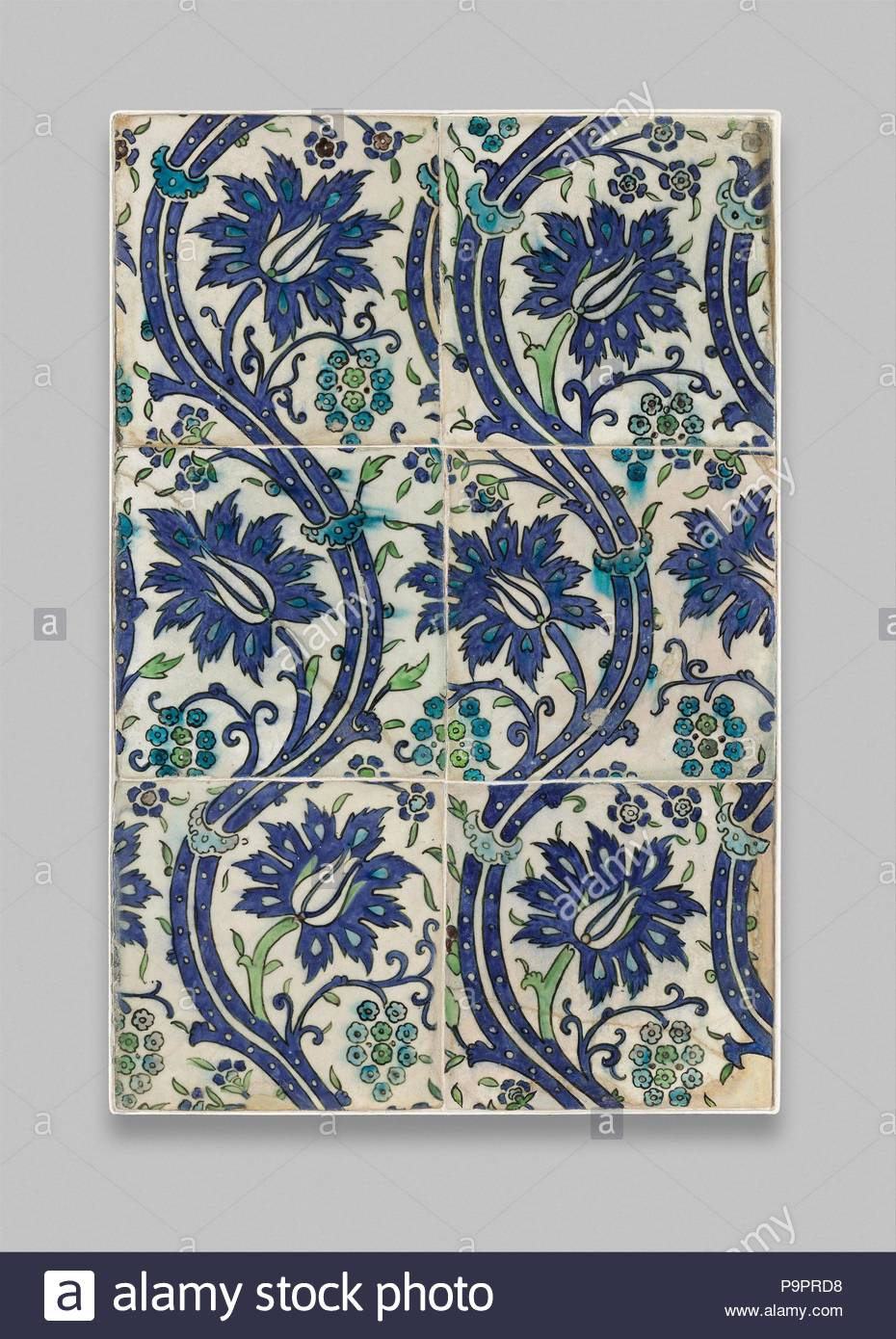 Tile Panel With Wavy Vine Design 16th17th Century Probably Made