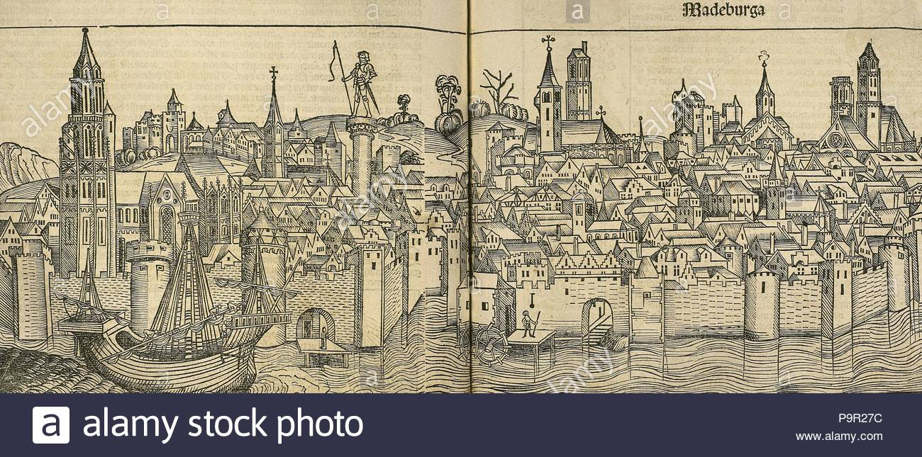 Germany. Magdeburg city. Engraving. 'Liber Chronicarum de Hartmann Schedel', 1493. - Stock Image