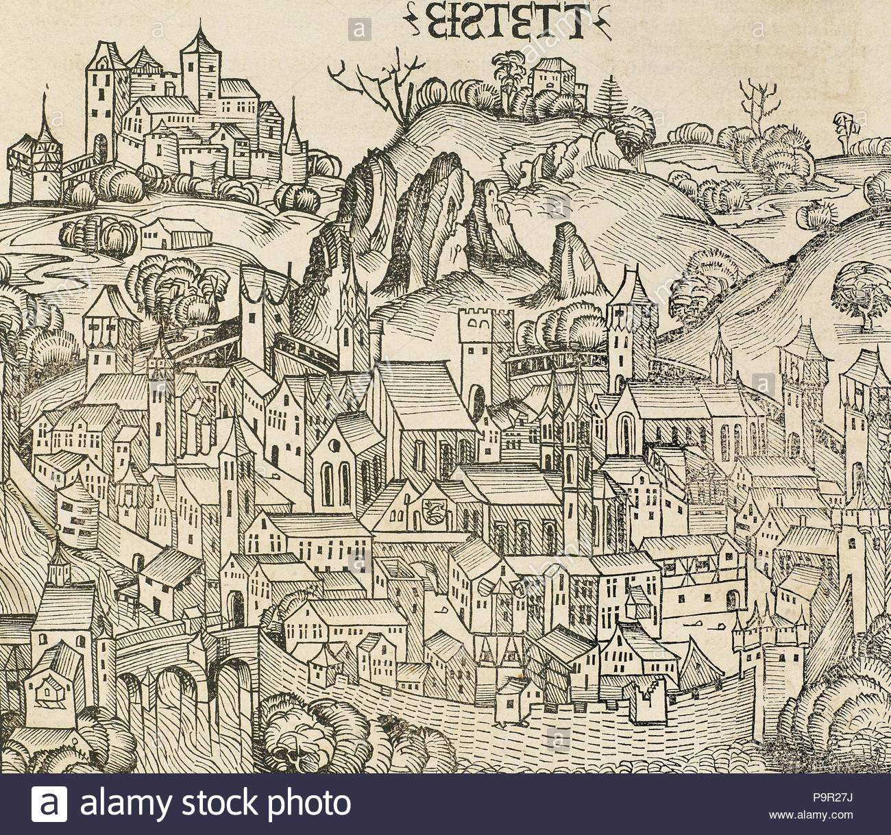 Germany. Eichstatt. Town in the federal state of Bavaria. It is located on the Altmuhl river. Engraving. 'Liber Chronicarum de Hartmann Schedel', 1493. - Stock Image