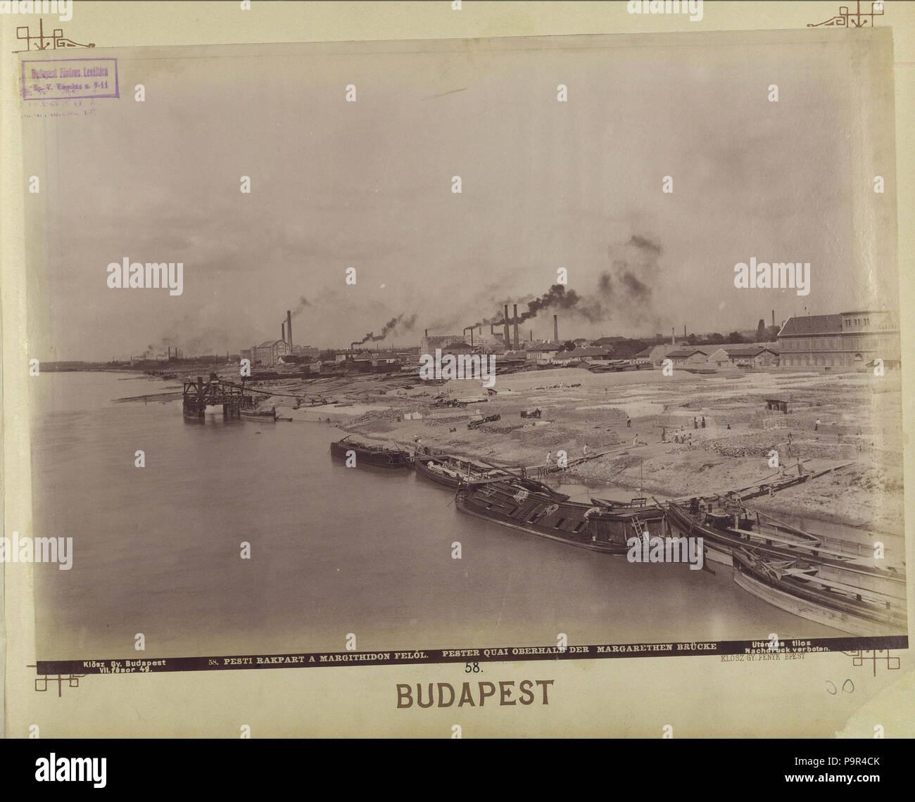 171 Az Újpesti rakpart a Margit híd felől nézve. - Budapest, Fortepan 82383 - Stock Image