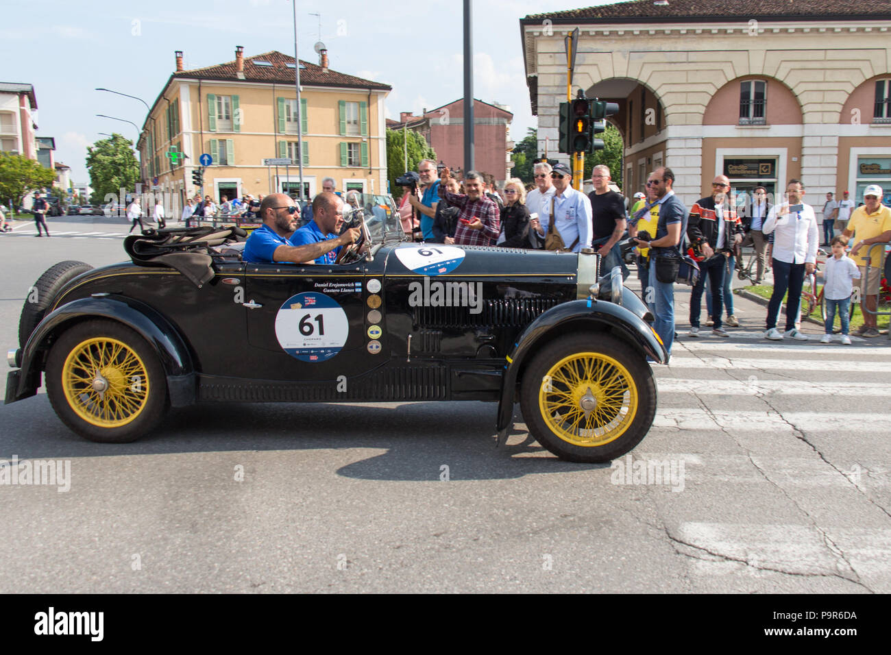 Brescia, Italy - May 19 2018: BUGATTI T 40 1929 is an old racing car in rally Mille Miglia 2018, live shot at the famous italian historical race on Ma - Stock Image