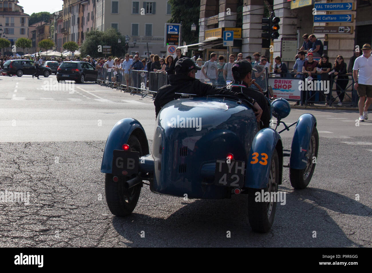 Brescia, Italy - May 19 2018: BUGATTI T 40 1927 is an old racing car in rally Mille Miglia 2018, live shot at the famous italian historical race on Ma - Stock Image