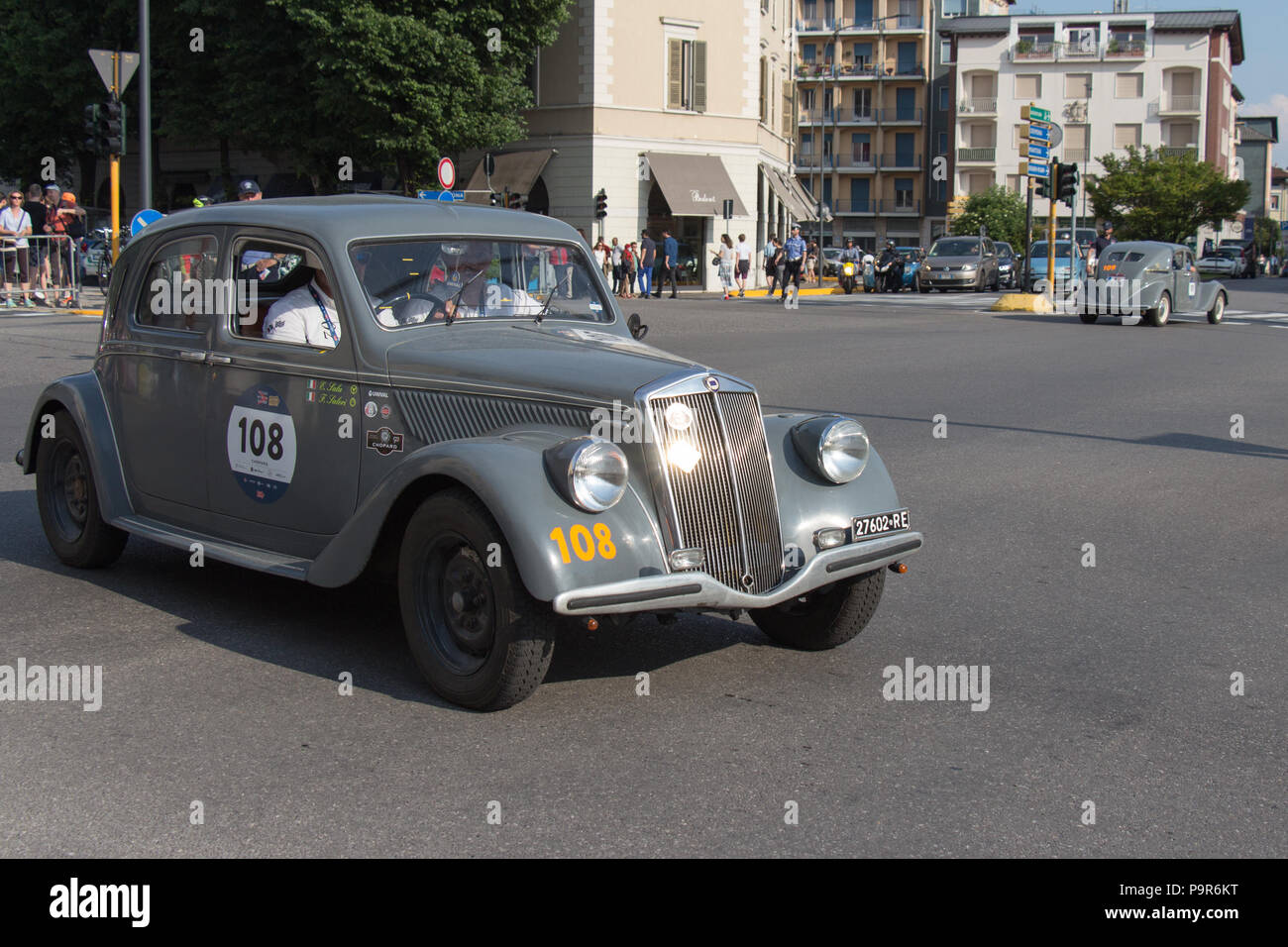 Brescia, Italy - May 19 2018: LANCIA APRILIA 1350 1937 is an old racing car in rally Mille Miglia 2018, live shot at the famous italian historical rac - Stock Image