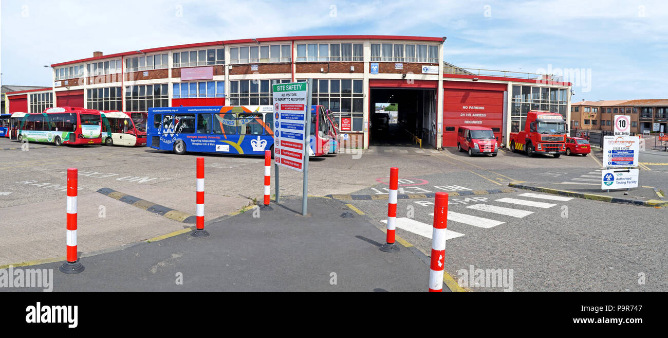 Warringtons Own Buses, main depot entrance,  Wilderspool Causeway, Cheshire, North West England, UK - Stock Image