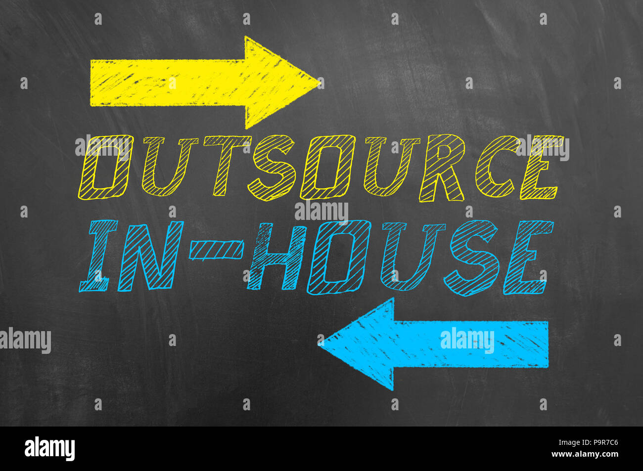 Outsource in house text and arrows drawing on blackboard or chalkboard strategic management recruitment promotion choice concept Stock Photo