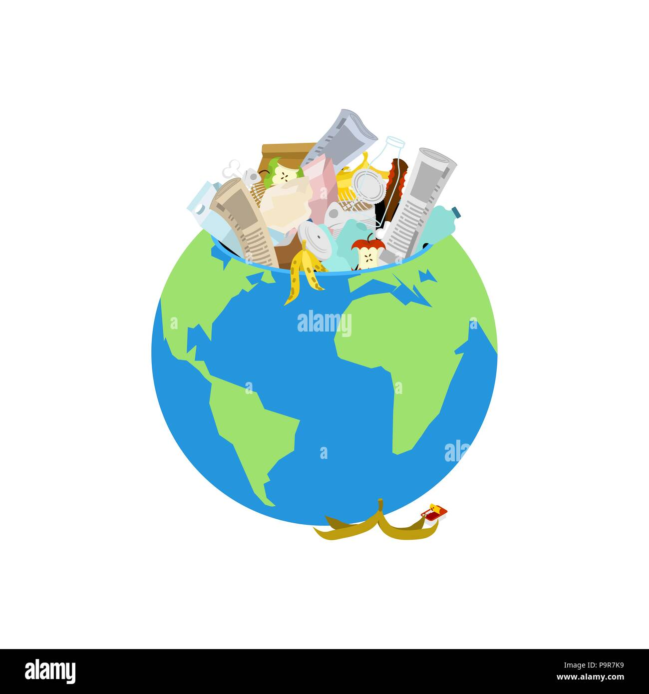 Earth garbage dump. Planet and garbage. scrapyard Vector illustration. - Stock Vector
