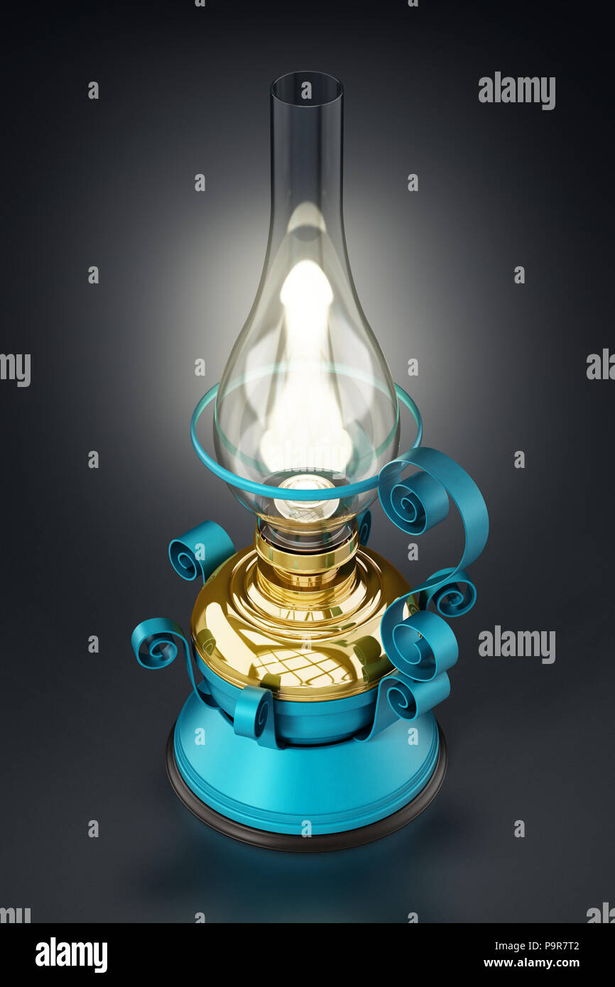 Vintage oil lamp glowing at the dark. 3D illustration. - Stock Image