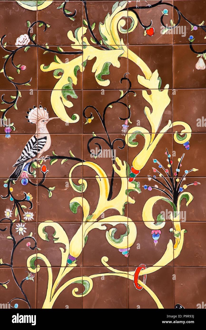 Detail of azulejos, tiles, with bird images, hoopoe, flowers, Palácio Valenças, Sintra, Portugal Stock Photo
