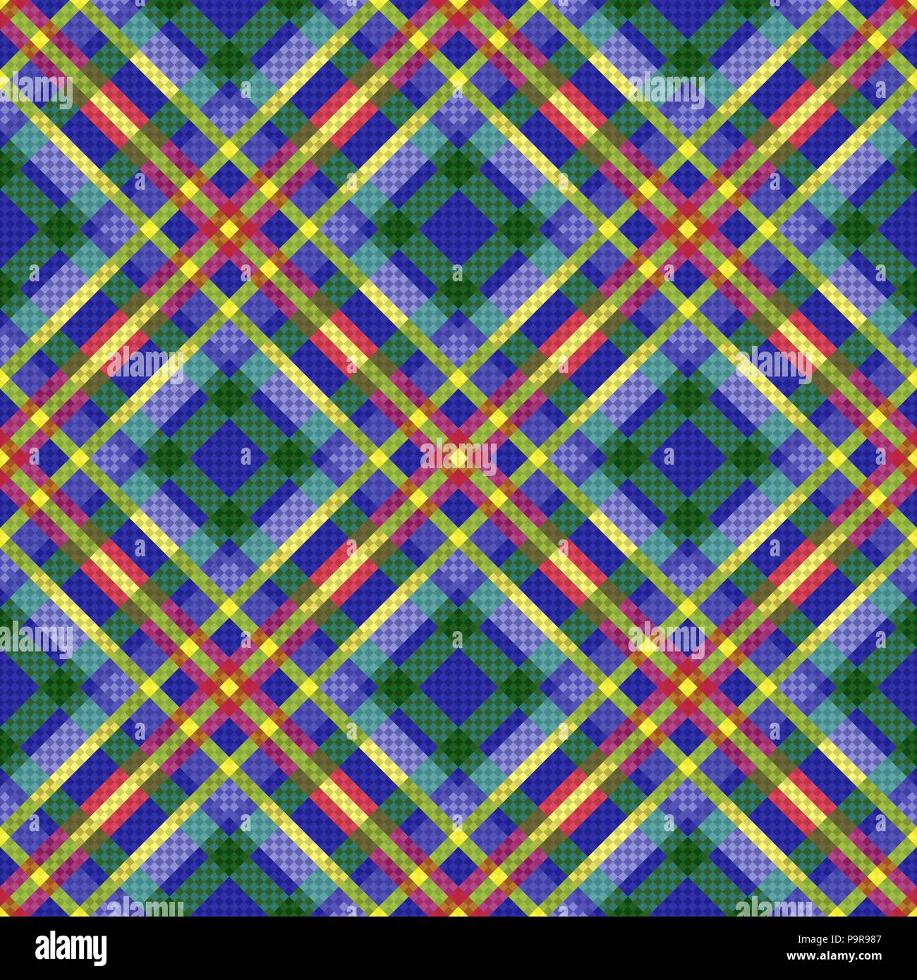 Seamless diagonal multicolor pattern in blue, violet, green, red and yellow hues, vector as a fabric texture - Stock Vector