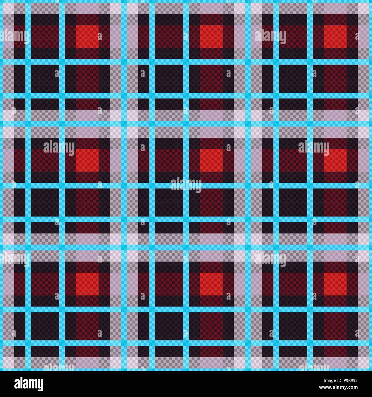 Seamless checkered texture mainly in red and grey hues with light blue lines, vector as a fabric texture - Stock Vector
