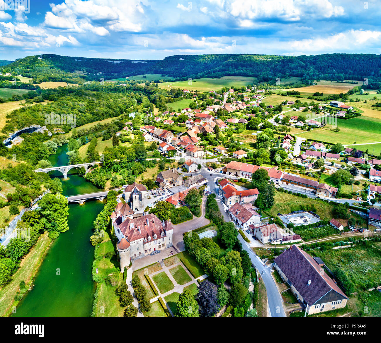 Aerial view of the Chateau de Cleron, a castle in the Doubs department of France - Stock Image