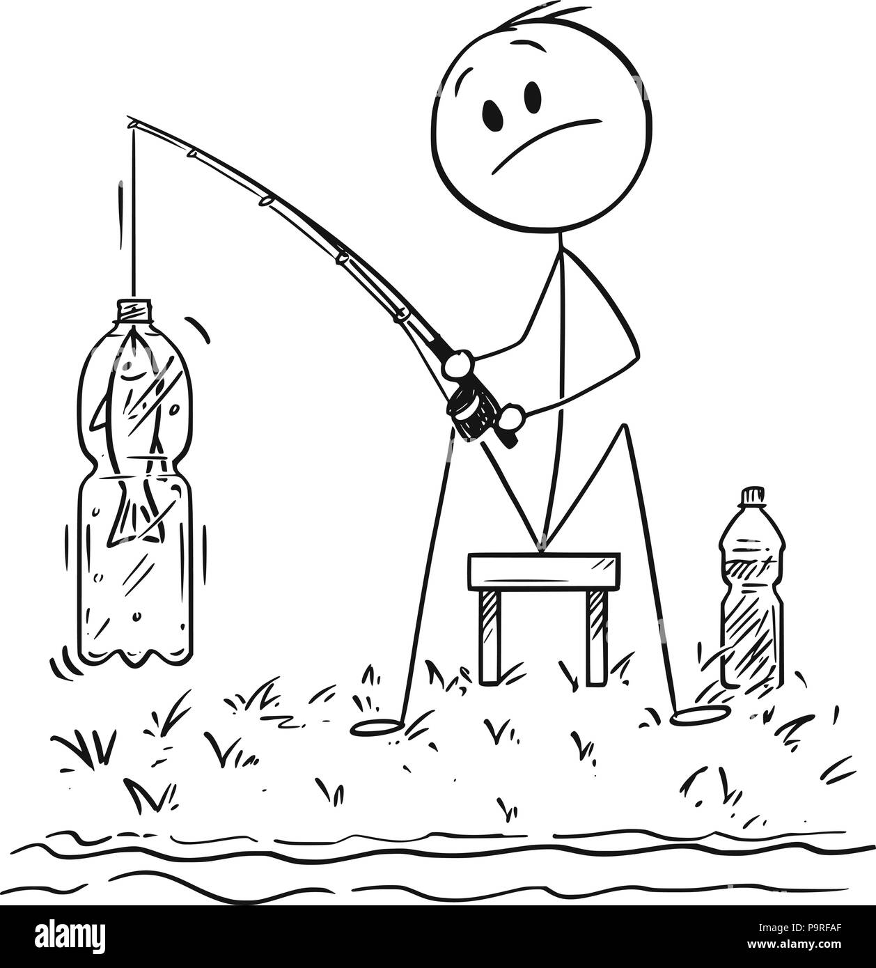 Cartoon Of Man Or Fisherman Fishing On The River Or Lake Shore