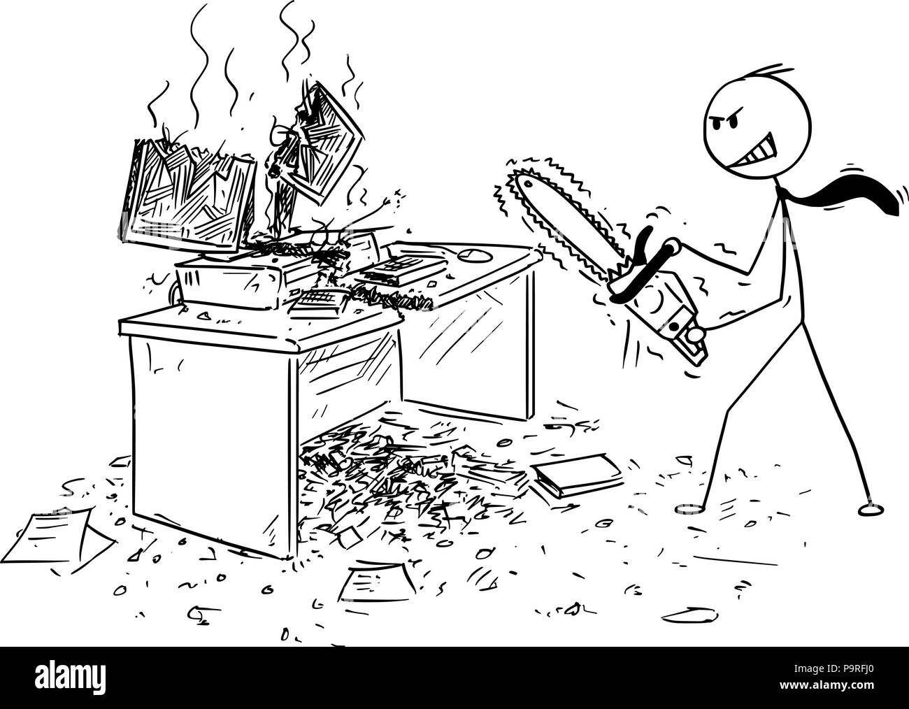Cartoon of Angry Businessman With Chainsaw Destroying Computer and ...