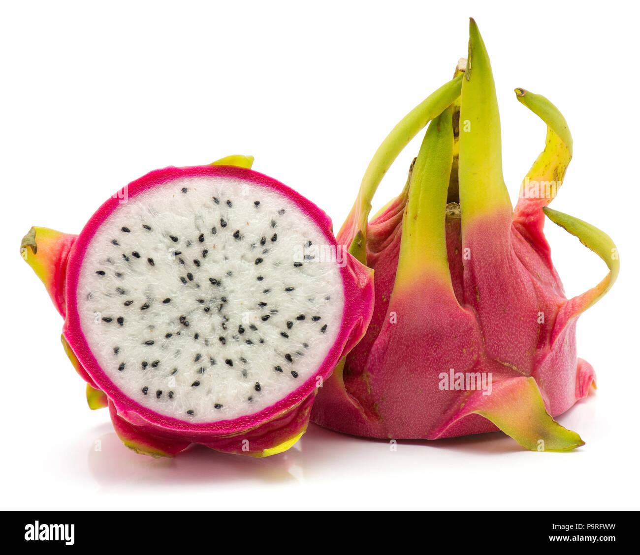 Sliced dragon fruit (Pitaya, Pitahaya) isolated on white background two halves - Stock Image