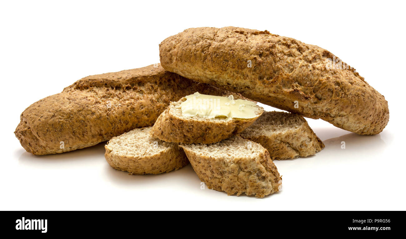 Two bagels and slices of whole wheat bran bread isolated on white
