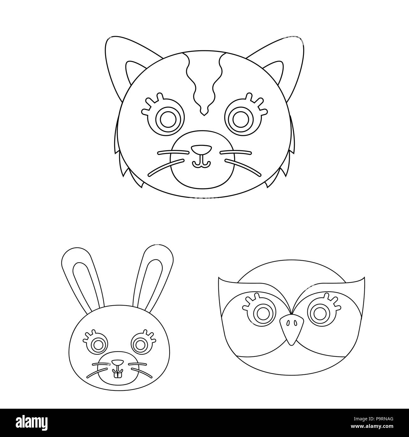 Muzzles Of Animals Outline Icons In Set Collection For Design Wild
