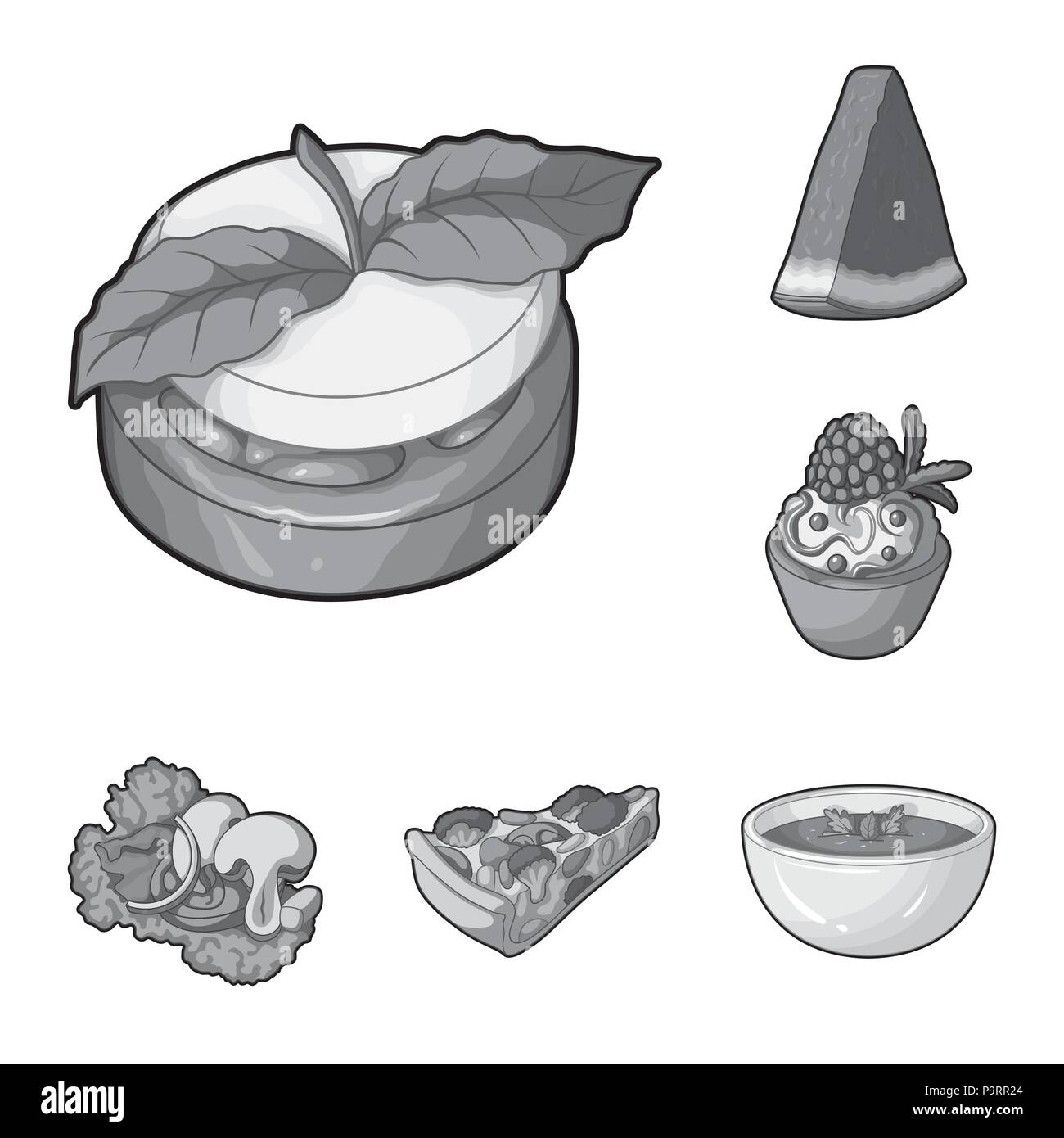 Vegetarian dish monochrome icons in set collection for design.Vegetable and milk food vector symbol stock  illustration. - Stock Vector
