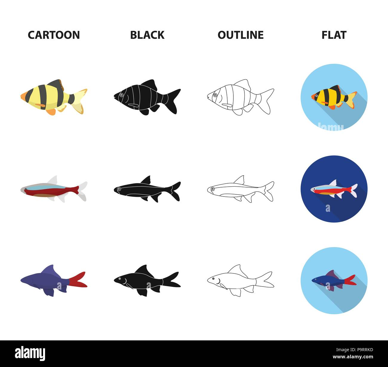 angelfish common barbus neon fish set collection icons in cartoon