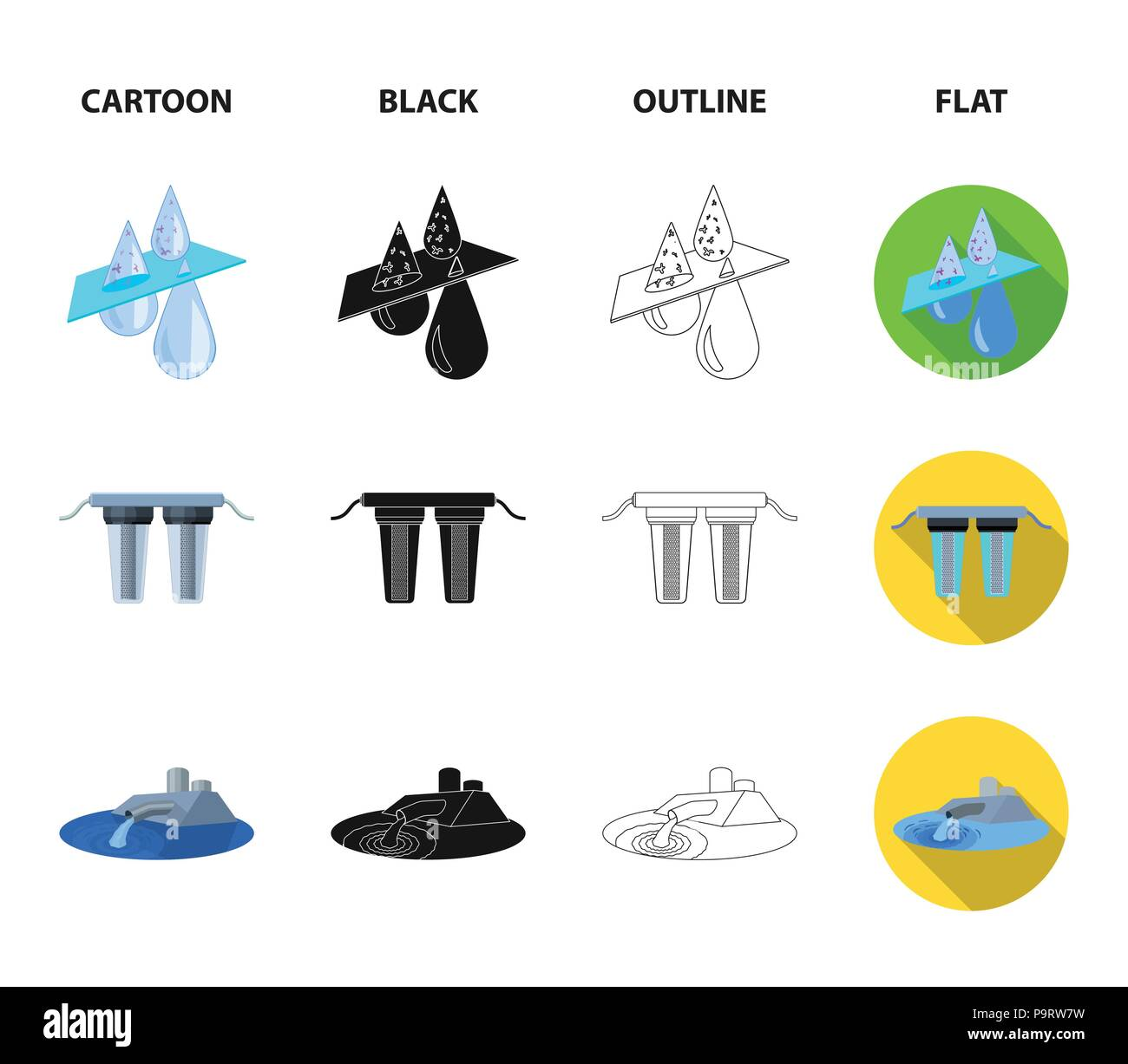 Filter Filtration Nature Eco Bio Water System Set Diagram Collection Icons In Cartoonblackoutlineflat Style Vector Symbol Stock Illustratio