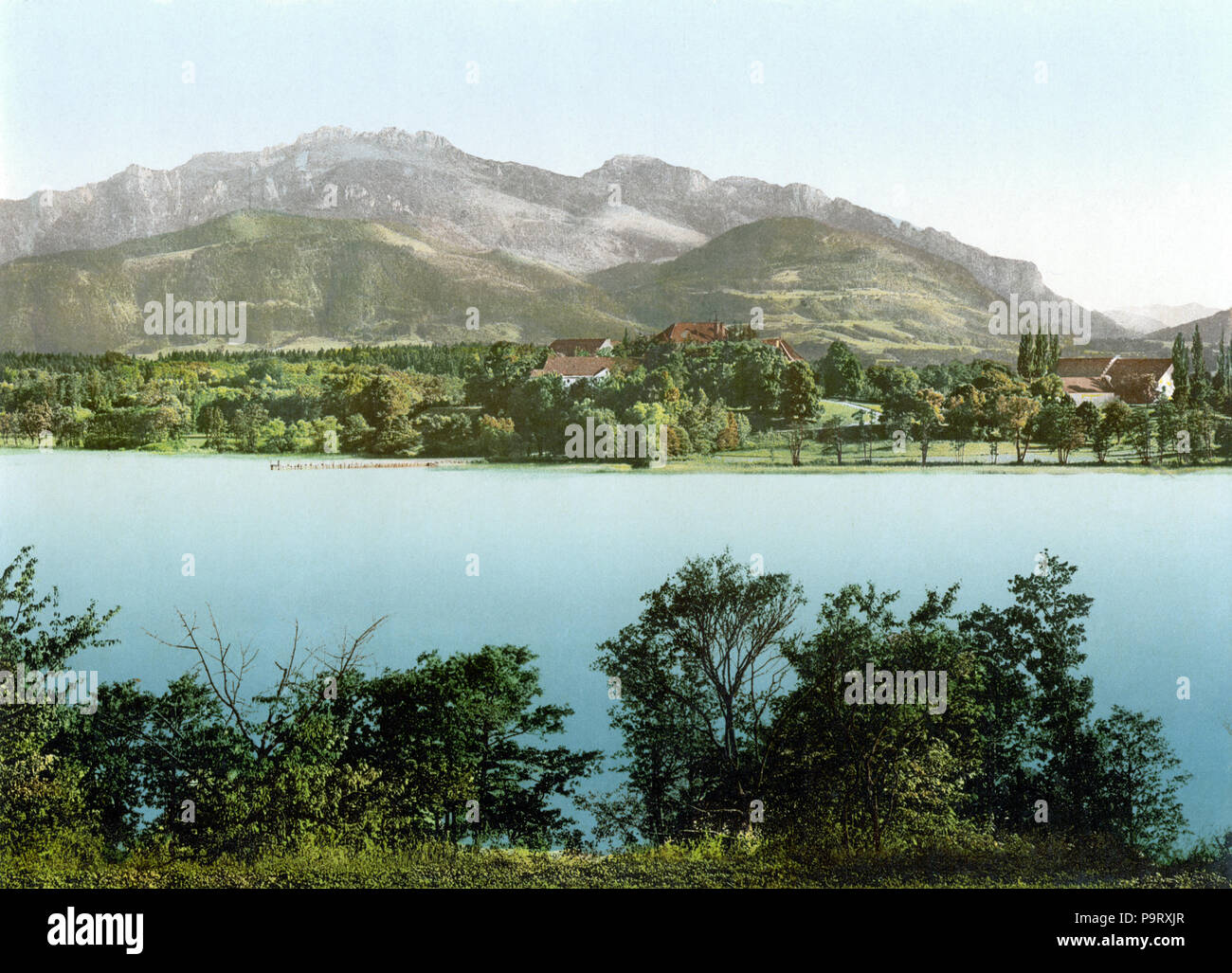 . Deutsch: Chiemsee Herreninsel um 1900 . between 1890 and 1905 305 Chiemsee Herreninsel 1900 - Stock Image
