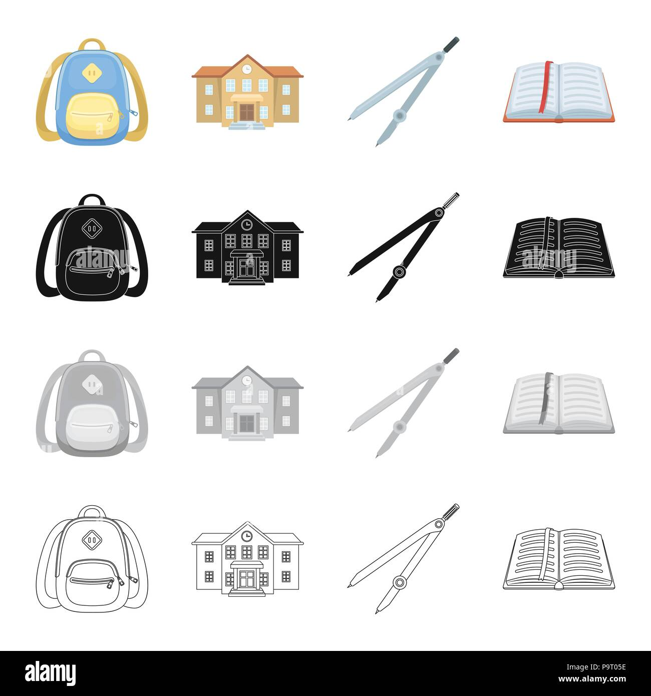 School Backpack College Building Compasses Open Book