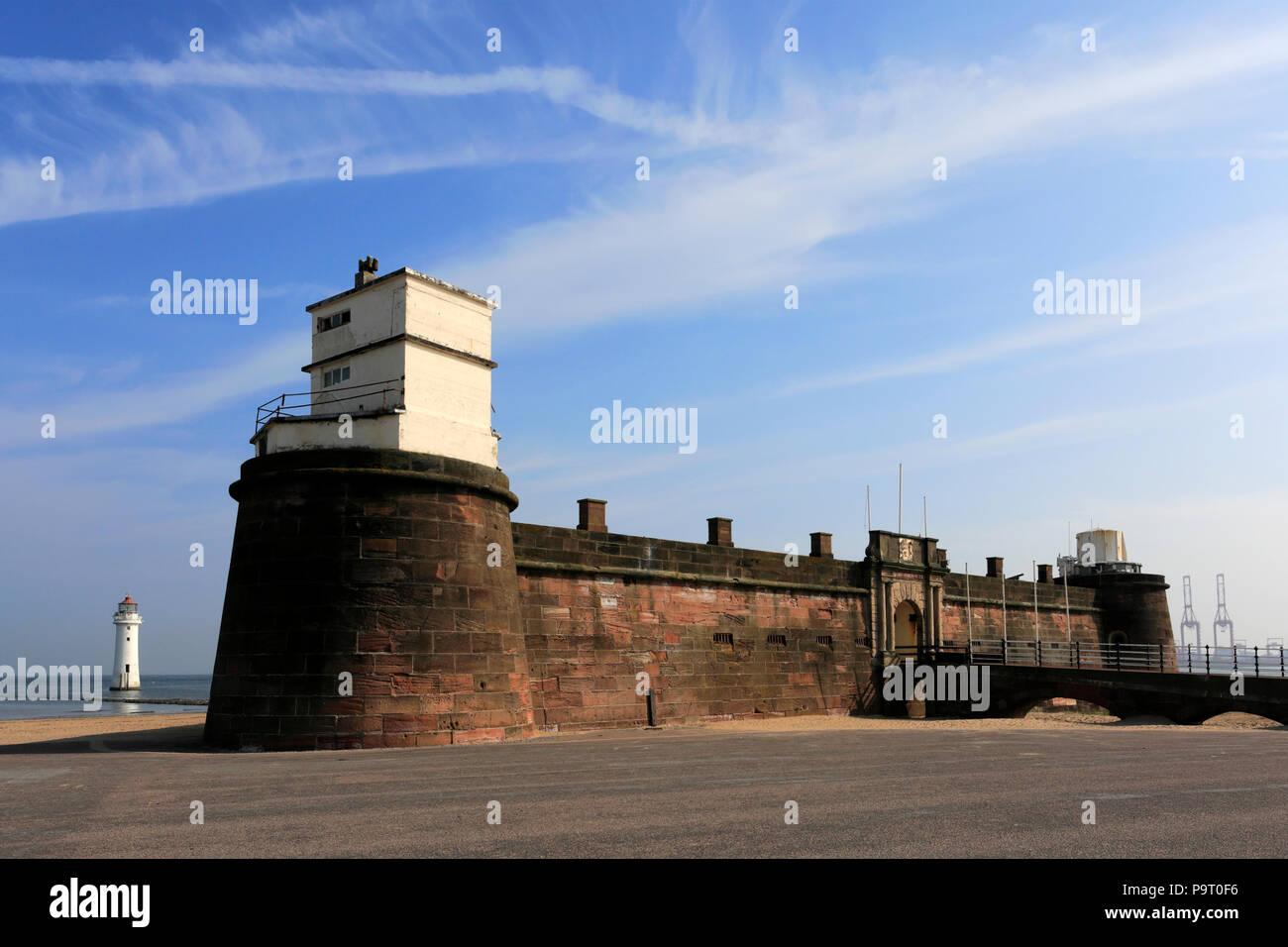 Fort Perch, New Brighton seaside resort, Wallasey town, Wirral, Merseyside, England, UK - Stock Image