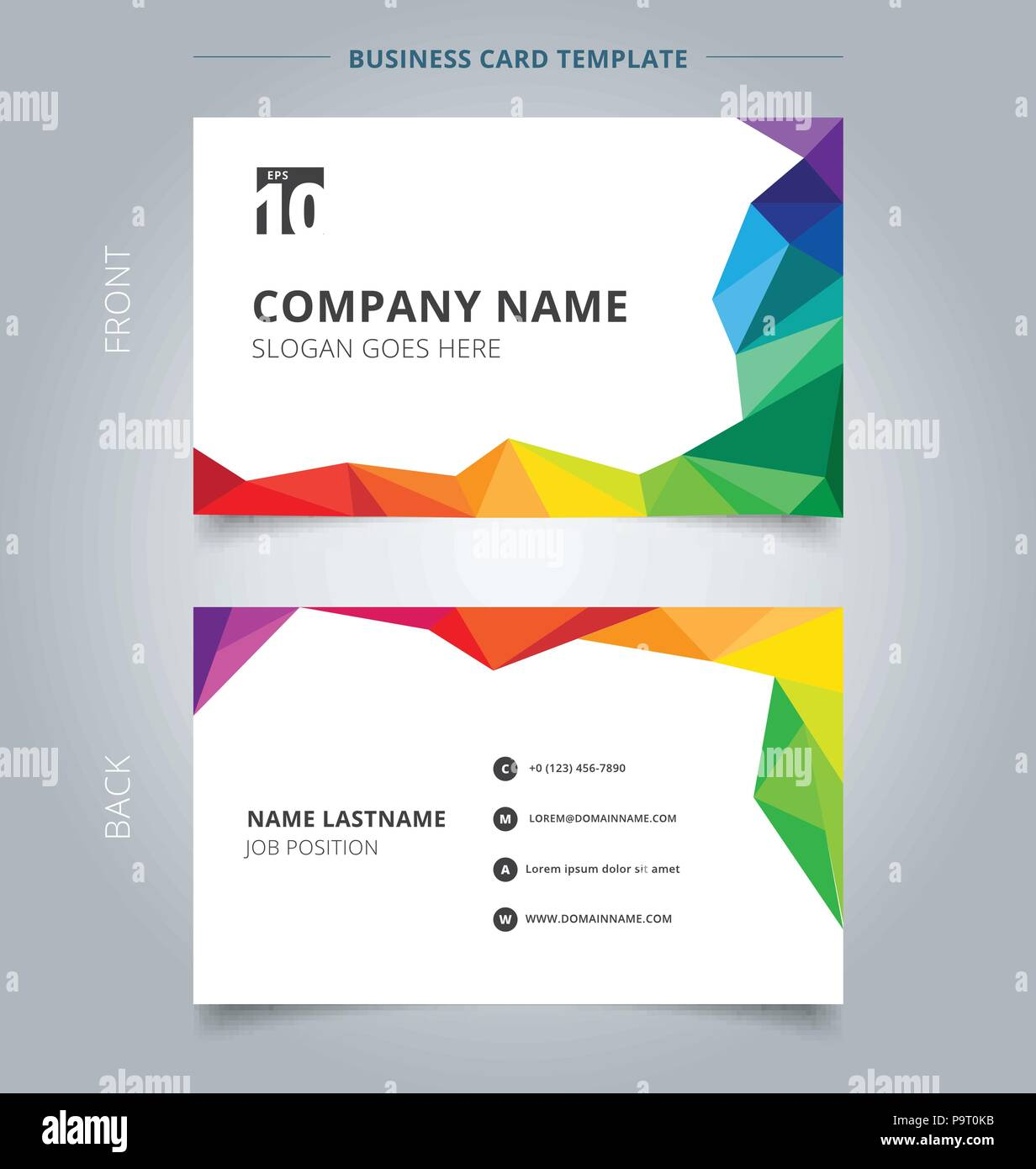 Business name card template design abstract colorful low polygon business name card template design abstract colorful low polygon style on white background vector illustration accmission