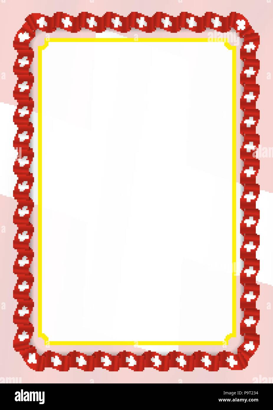 frame and border of ribbon with switzerland flag template elements