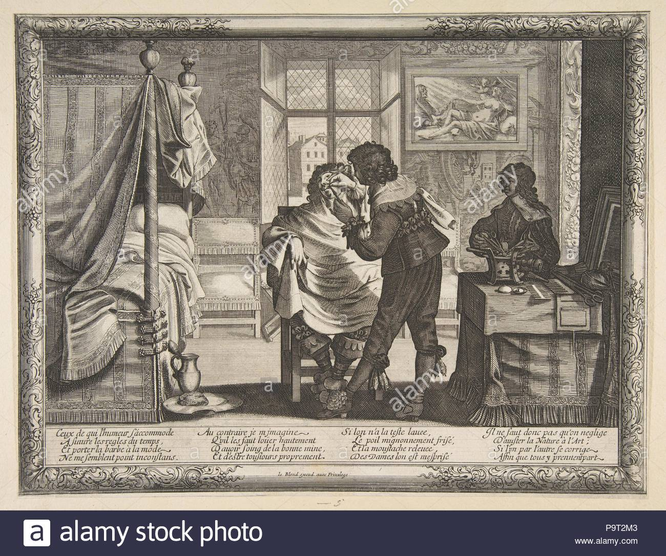 The Barber (le Barbier), ca. 1632–33, Etching, sheet: 10 1/16 x 13 1/16 in. (25.5 x 33.2 cm), Prints, Abraham Bosse (French, Tours 1602/1604–1676 Paris). - Stock Image