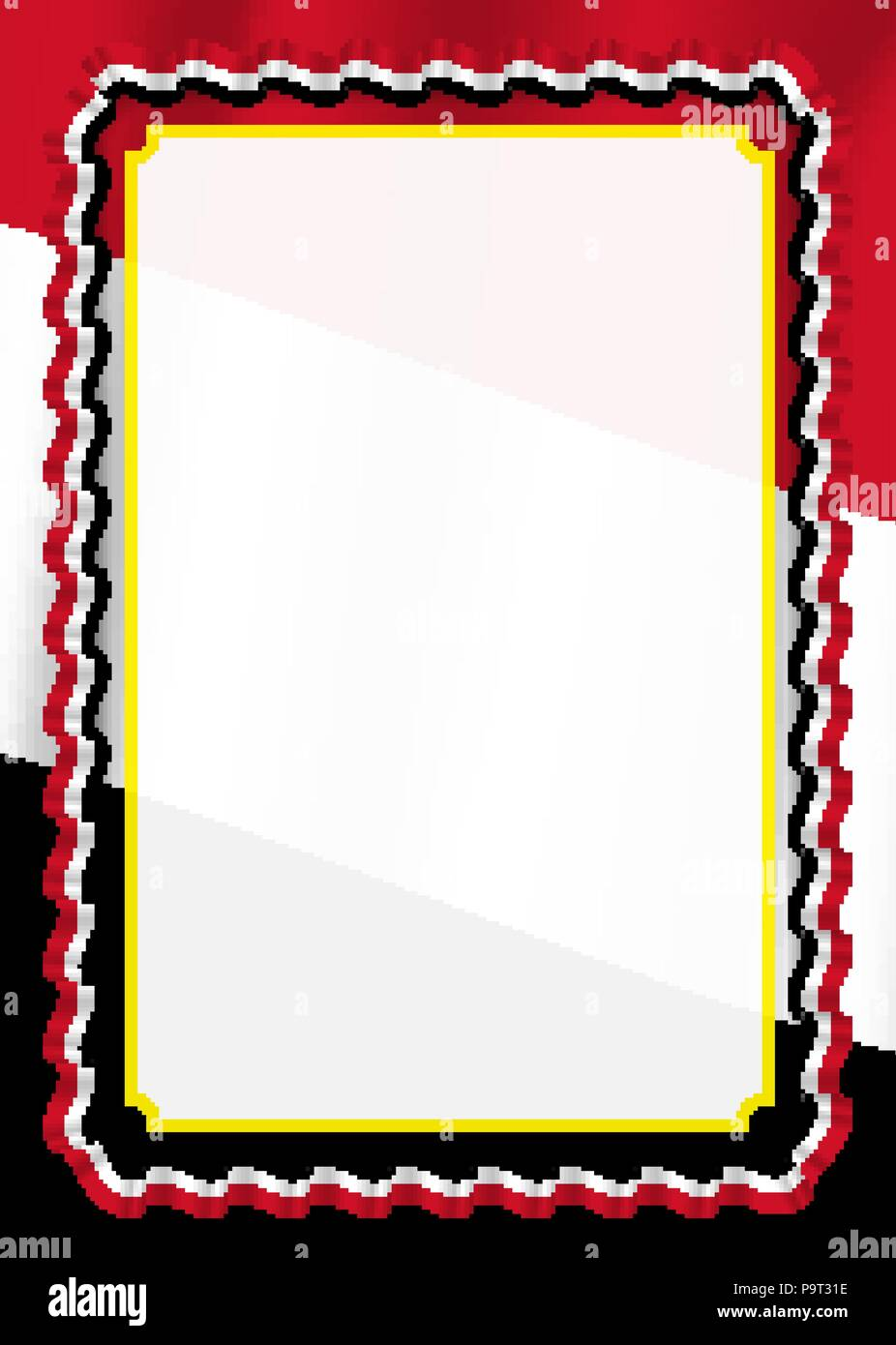 Frame and border of ribbon with Yemen flag, template elements for your certificate and diploma. Vector. Stock Vector