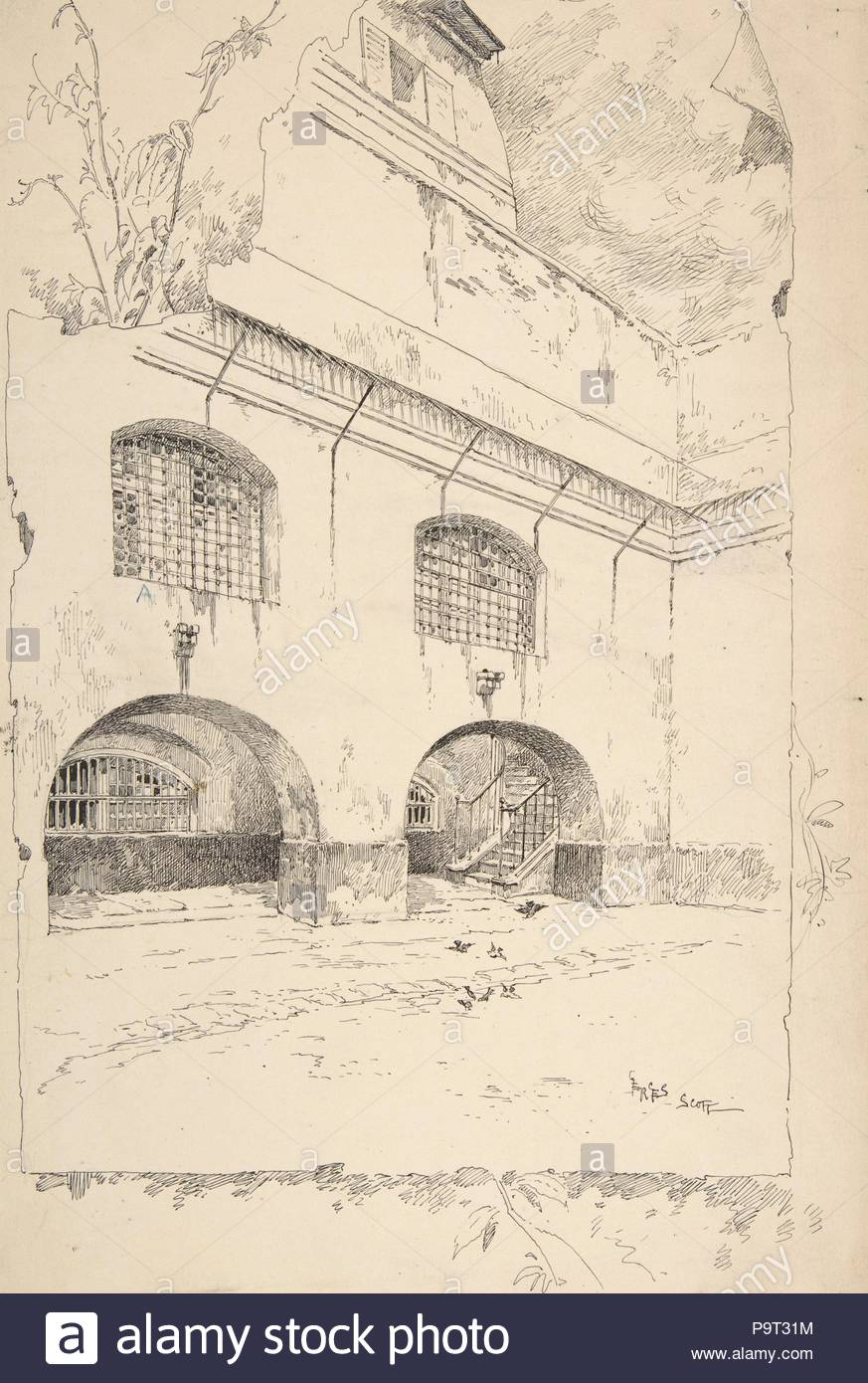 Drawing for Book Illustration, 'Cour des femmes à la Conciergerie', late 19th–mid-20th century, 12 5/8 x 9 1/8 in. (32.1 x 23.2 cm), Drawings, Georges-Bertin Scott (French, Paris, 1873–1942). - Stock Image