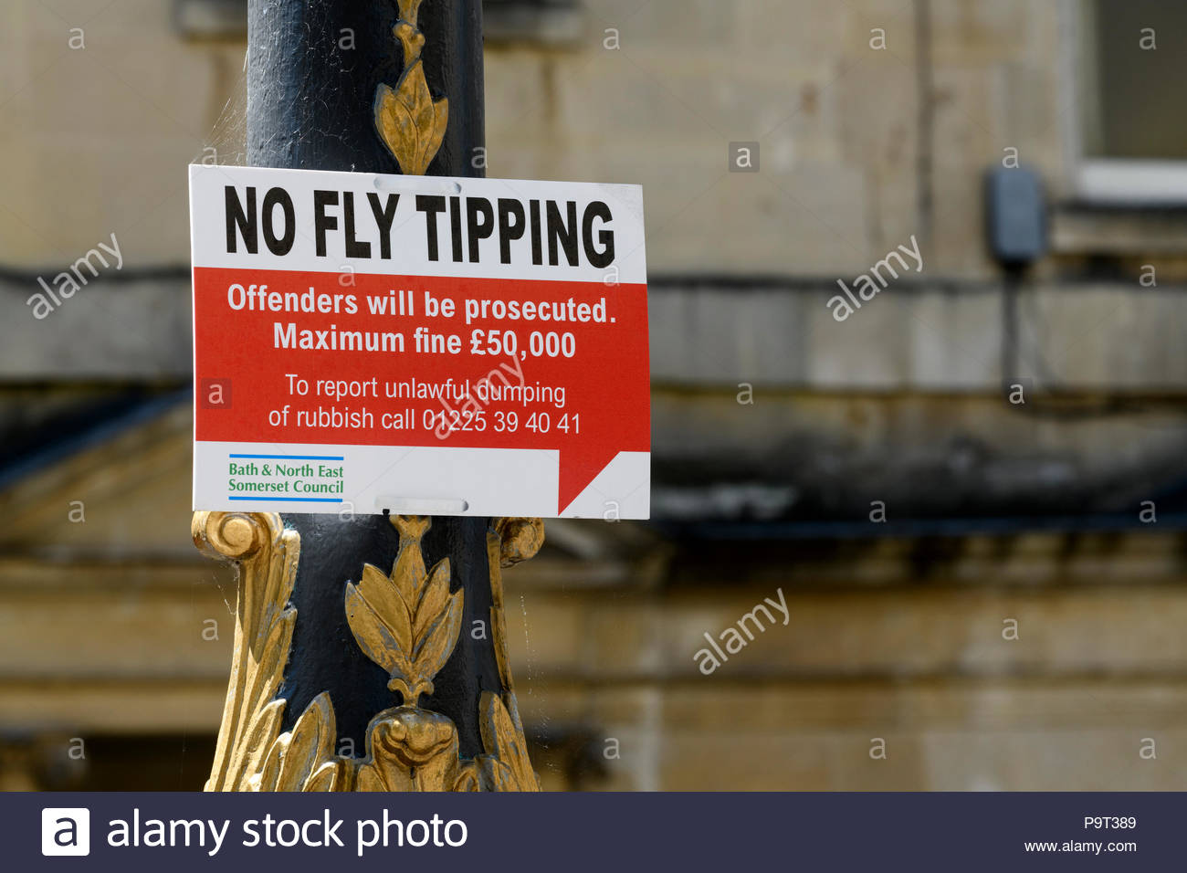 No Fly tipping sign, Bath, Somerset, England, UK - Stock Image