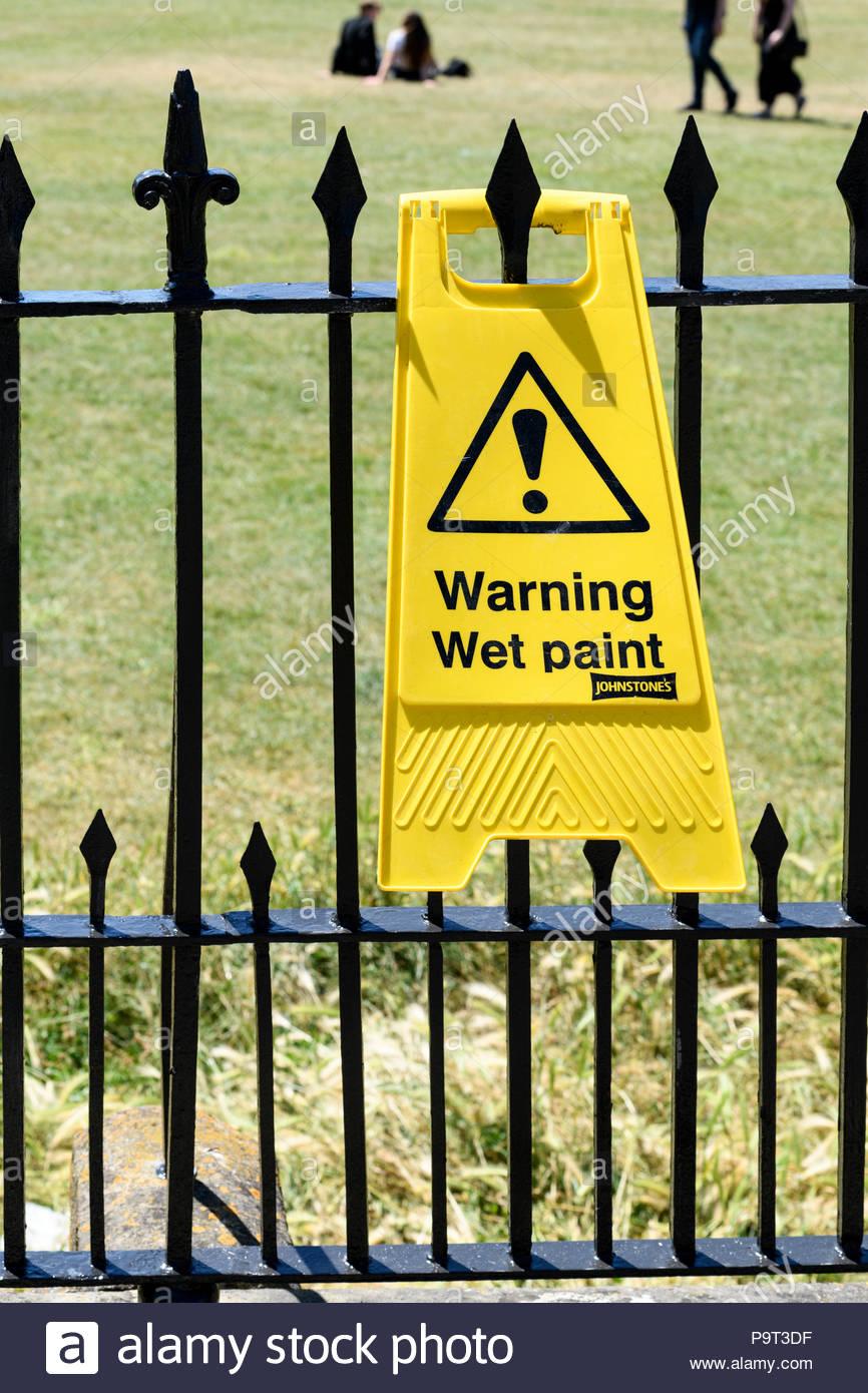 Wet paint sign, Bath, Somerset, England, UK - Stock Image
