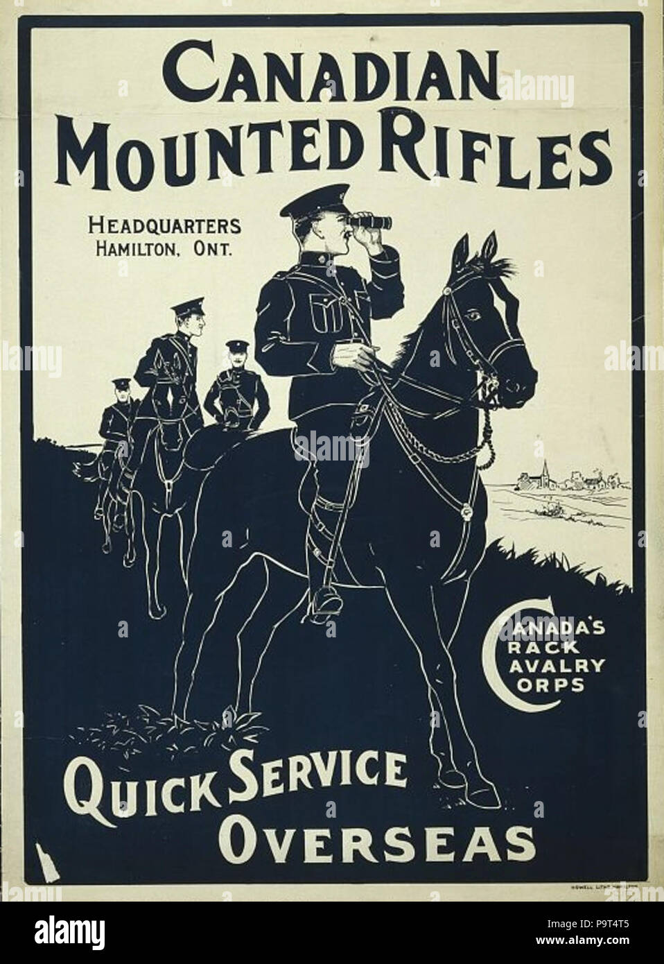 . 'Canadian Mounted Rifles. Headquarters Hamilton, Ont. Canada's Crack Cavalry Corps. Quick Service Overseas'. Canadian World War I recruitment poster. 1914–18 272 Canadian Mountian Rifles recruitment poster - Stock Image