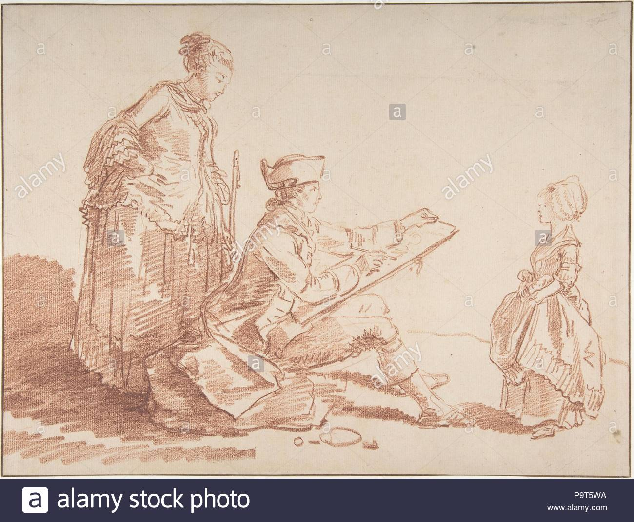 Artist Sketching a Young Girl, n.d., Red chalk. Framing lines in pen and brown ink., 10 1/16 x 13 5/16 in. (25.5 x 33.8 cm), Drawings, Hubert Robert (French, Paris 1733–1808 Paris). - Stock Image