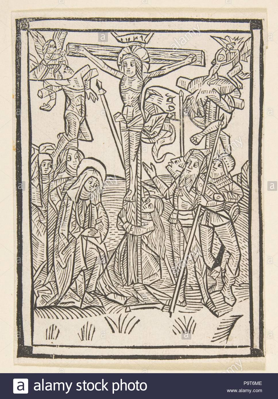 The Crucifixion (Schr. 486), 15th century, Woodcut, sheet: 4 13/16 x 3 1/2 in. (12.3 x 8.9 cm), Prints, Anonymous, German, 15th century. - Stock Image