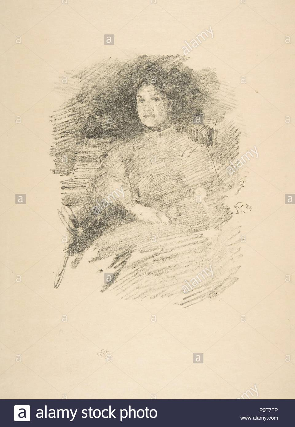 Firelight (Mrs. Joseph Pennell), 1896, Transfer lithograph, drawn on white transfer paper with a grained-stone texture, Sheet: 12 1/8 in. × 9 in. (30.8 × 22.9 cm), Prints, James McNeill Whistler (American, Lowell, Massachusetts 1834–1903 London). - Stock Image