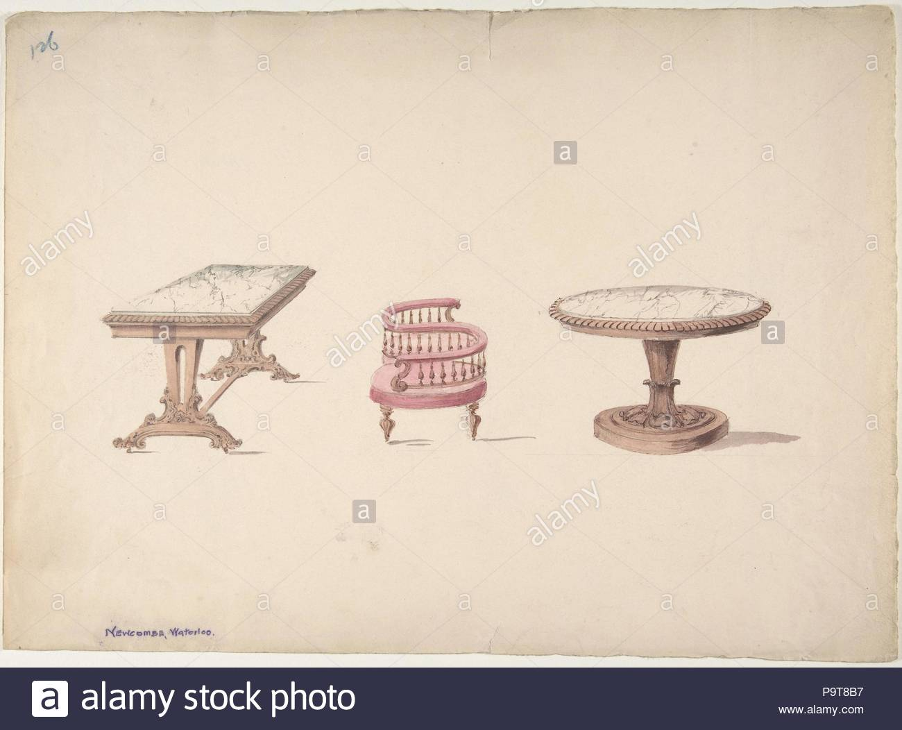 Design for a Rectangular and Round Marble-topped Tables and a Tête-à Tête Chair, early 19th century, Ink, watercolor and wash, sheet: 10 7/8 x 14 15/16 in. (27.6 x 38 cm), Anonymous, British, 19th century. - Stock Image