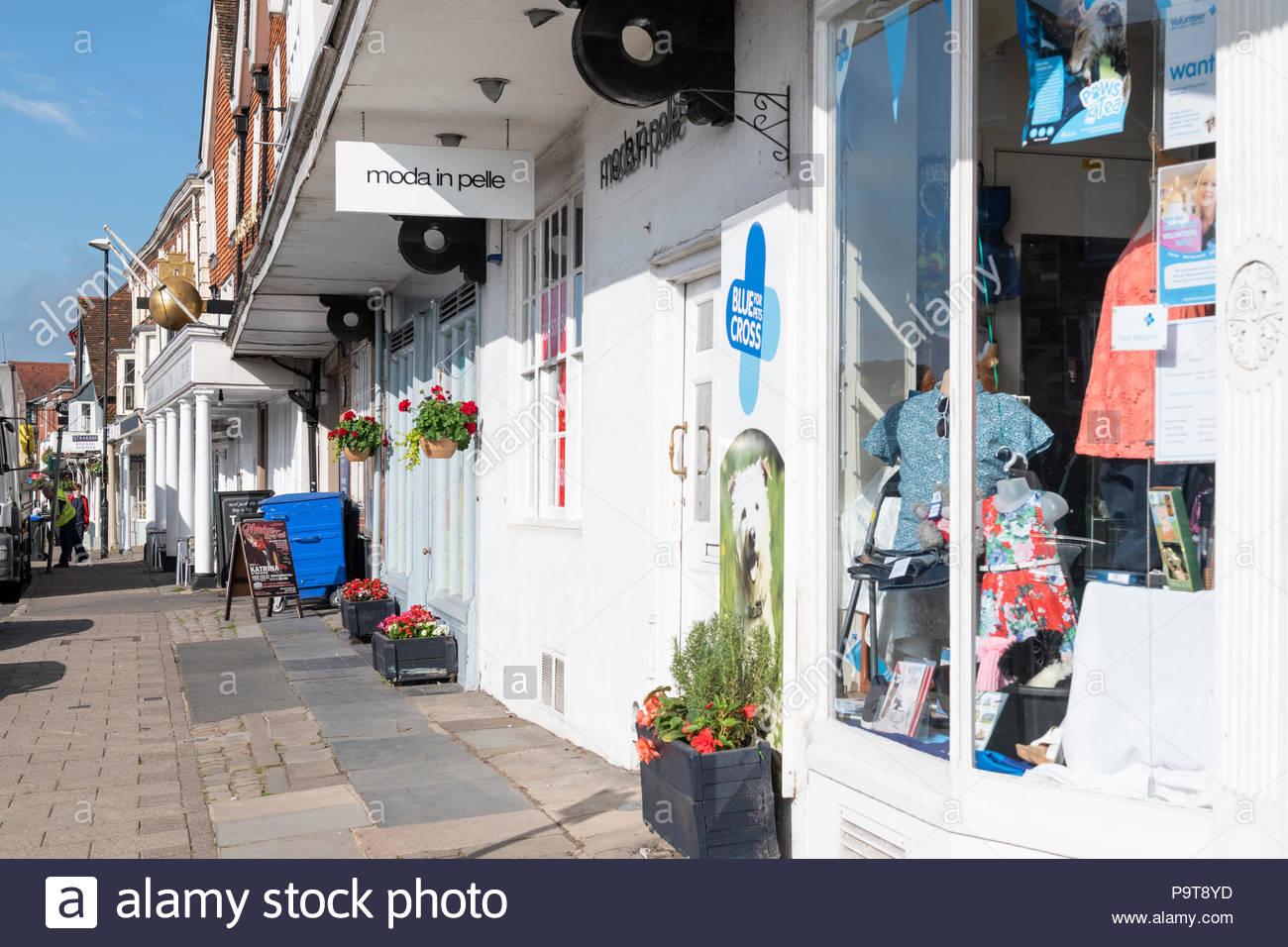 High Street stores, Marlborough, Wiltshire, England, UK Stock Photo