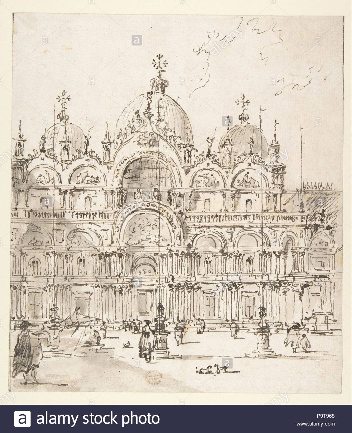 View of Piazza with Basilica of San Marco, 1712–93, Pen and brown ...